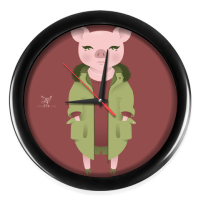 Настенные часы Animal Fashion | P is for Pig in Parka with Pearls