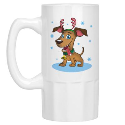 Пивная кружка Пёс - оленьи рога
