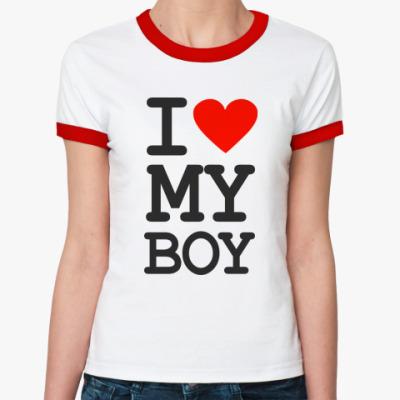 Женская футболка Ringer-T I love my boy