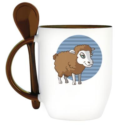 Кружка с ложкой стилизованная овца в круге