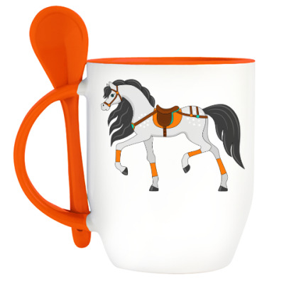 Кружка с ложкой Красивая лошадка