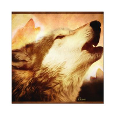 Наклейка (стикер) Воющий волк