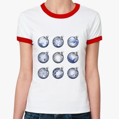 Женская футболка Ringer-T Новогодние шары