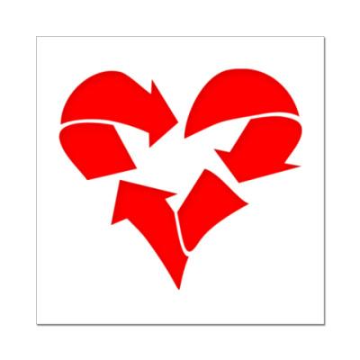 Наклейка (стикер) Recycle Heart