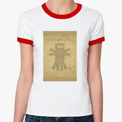 Женская футболка Ringer-T Cat da vinci