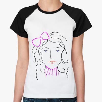 Женская футболка реглан Женское лицо