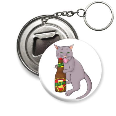 Брелок-открывашка Кот и пиво