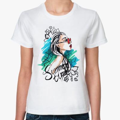 Классическая футболка Стильная девушка