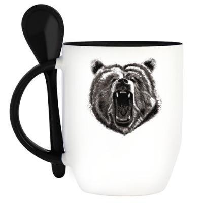 Кружка с ложкой Медведь