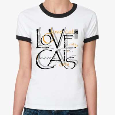 Женская футболка Ringer-T Люблю кошек