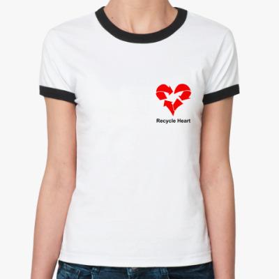 Женская футболка Ringer-T Recycle Heart