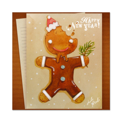 Наклейка (стикер)  Новогоднее печенье